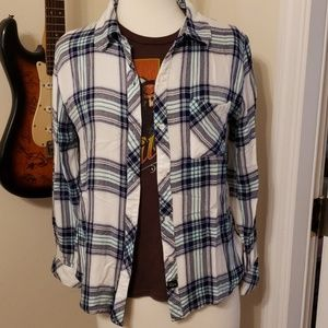 Rails Plaid Turquoise and Blue Button Down